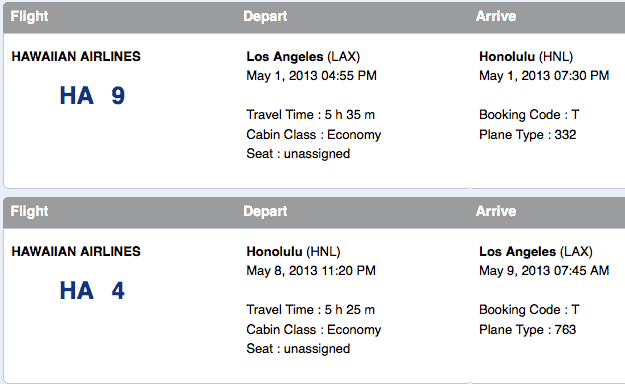 first class airline tickets to hawaii