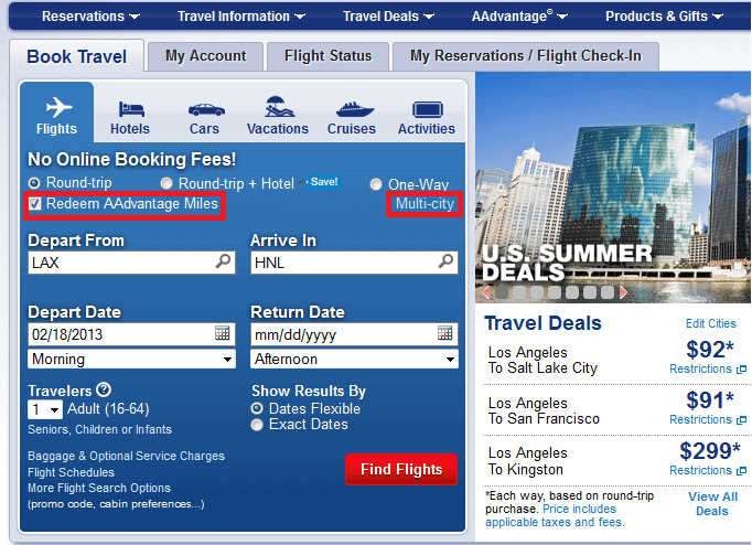 How To Book Free Stopovers Online American Airlines