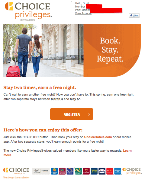 Free Night At Choice Hotels After Two Paid Stays Good Deal