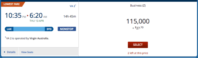 This 115k flight is operated by Virgin Australia