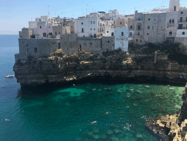 Polignano a Mare, a shoWant to fly to Europe in Business Class and visit the charming Italian town of Polignano a Mare? The Star Alliance typically has the most saver level Business award space to Europe, and Ultimate Rewards give you access to that award space via United and Singapore miles. Photo credit: Sarah Page Maxwell